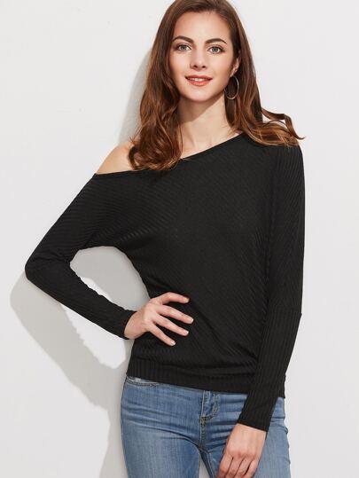 Black One Shoulder Ribbed T-shirt