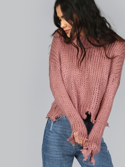 Thick Knit Cropped Snip Sweater MAUVE