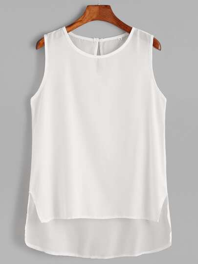 White Keyhole Black High Low Tank Top