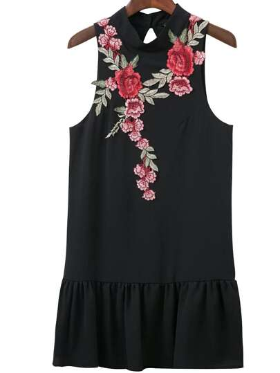 Black Floral Embroidery Open Back Sleeveless Ruffle Hem Dress