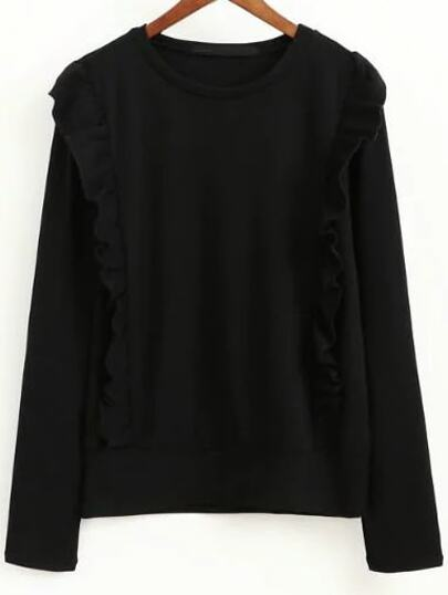 Black Ruffle Trim Round Neck Knitwear