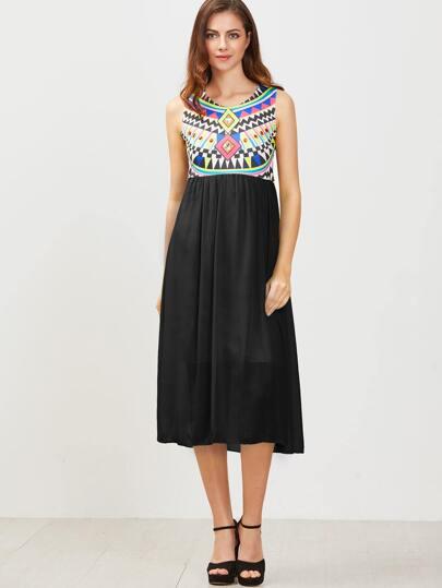 noir manches 2 dans 1 robe imprimé géométrique
