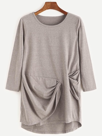 Khaki Long Sleeve Twist Drape T-shirt