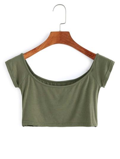 T-Shirt Ritagliato Scollo A Barca - Verde Militare