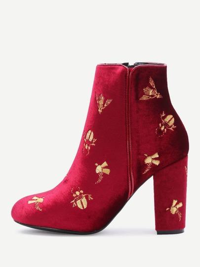Бордовые модные ботильоны на каблуках с вышивкой и молнией