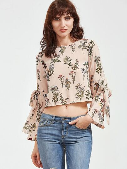 Apricot Floral Bow Tie Key-hole Back Blouse