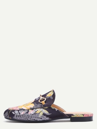Black Floral Embroidered Satin Loafer Slippers