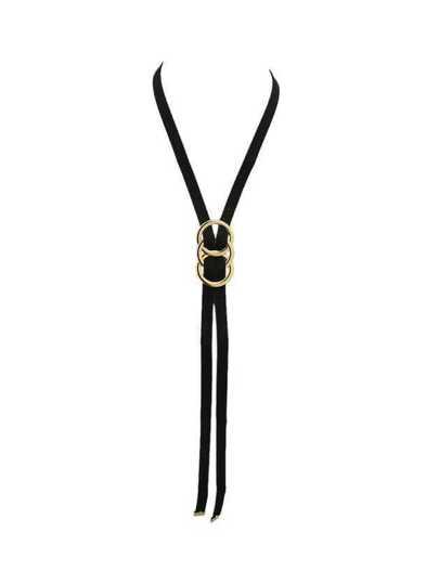 Collier chaîne longue en suédé noir mode