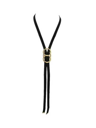 Fashion Black Suede Long Chain Necklaces