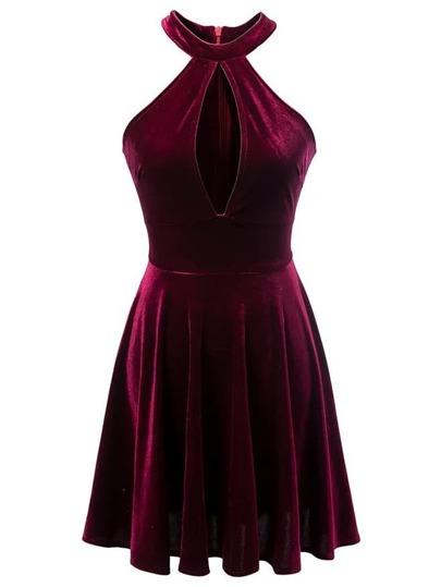 Burgundy Halter Keyhole Velvet A Line Dress
