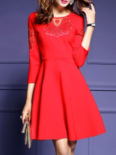 Red Contrast Gauze Embroidered A-Line Dress