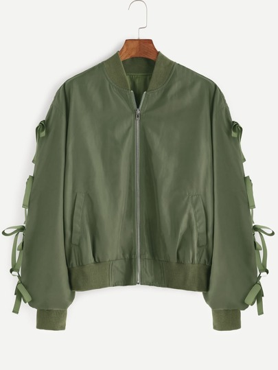 Olive Green Bow Embellished Shirred Sleeve Bomber Jacket
