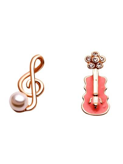Gold Pearl And Rhinestone Inlay Enamel Violin Ear Studs