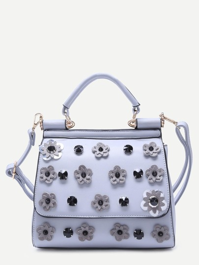 Light Blue Flower And Rhinestone Embellished PU Handbag With Strap