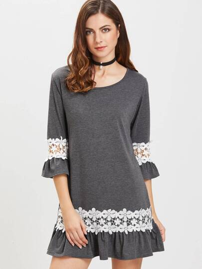 Heather Grey Contrast Crochet Appliques Ruffle Hem Dress