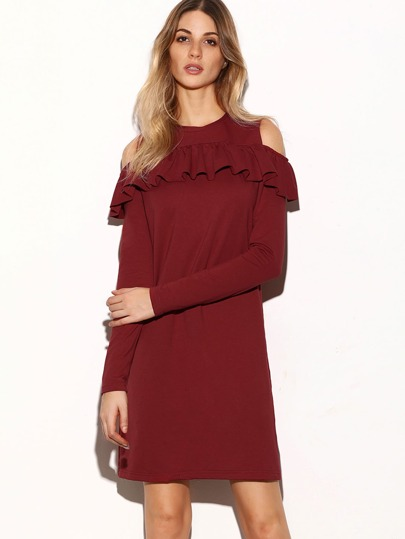 Burgundy Cold Shoulder Ruffle Trim Shift Dress