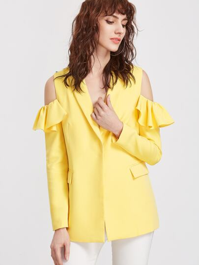Yellow Shawl Collar Ruffle Open Shoulder Hidden Button Blazer