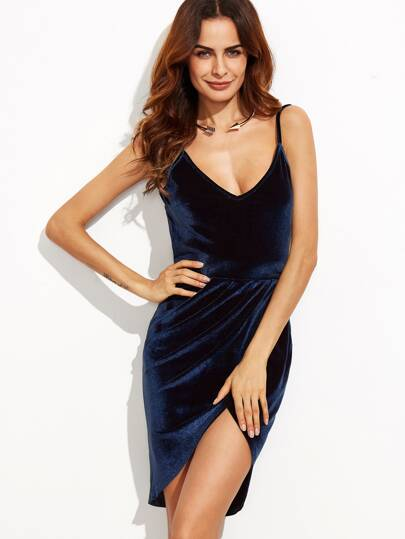 Backless Wrap Ruched Velvet Cami Dress