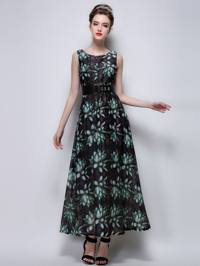 Dark Green Floral A Line Dress