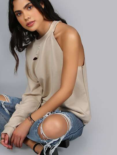 One Arm Distressed Sweatshirt ECRU