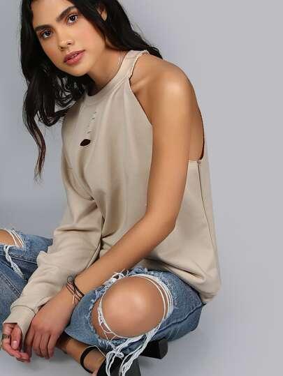 One Arm Distressed Sweatshirt ECRU