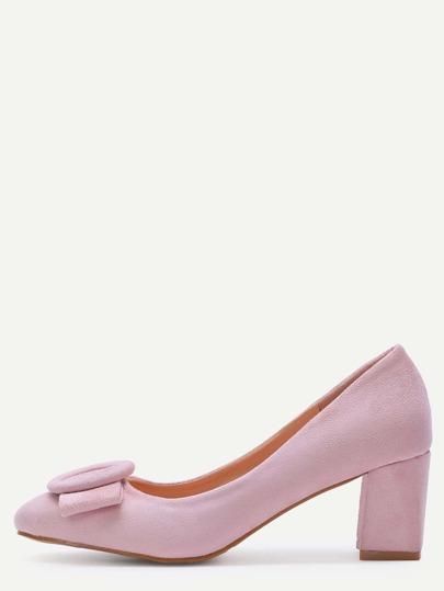 Zapatos de salón de terciopelo con lazo - rosa