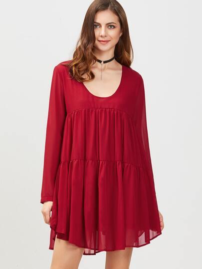 Burgundy Scoop Neck Long Sleeve Shift Dress