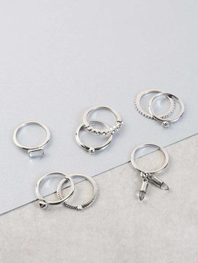 Faux Crystal Metallic Ring Set SILVER