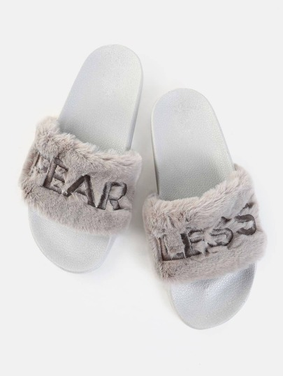 Faux Fur Fearless Slide Sandals GREY
