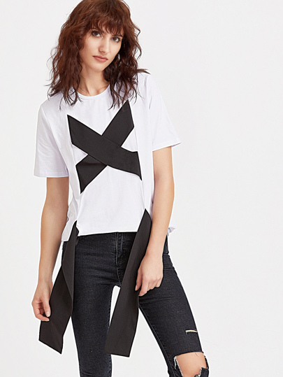 White Contrast Wide Crisscross Strap Front T-shirt