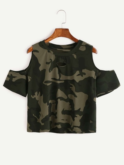 Open Shoulder Camo Print Ripped T-shirt