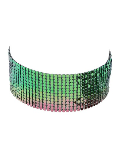 Colorful Hip Hop Style Wide Choker Party Necklace