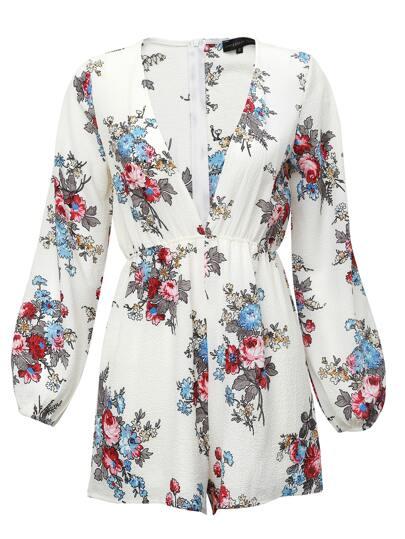 Белый модный комбинезон с цветочным принтом и V-образным вырезом