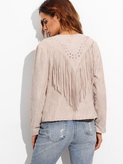 Розовая замшевая куртка с бахромой