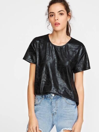Camiseta asimétrica espalda de malla - negro