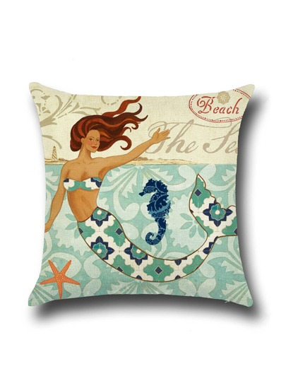 Classical Mermaid Graphic Linen Cushion Cover