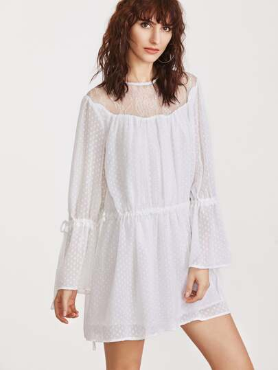 White Sheer Lace Shoulder Drawstring Detail Polka Dot Jacquard Dress