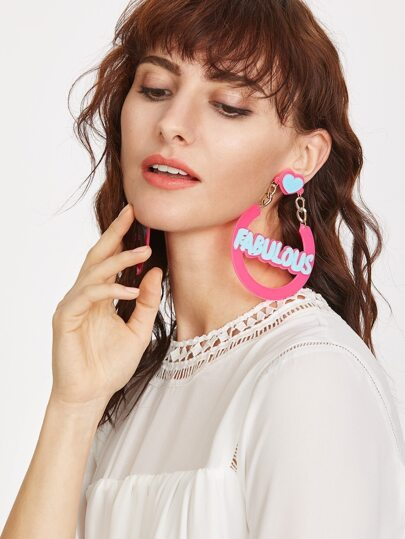 Pink Letter Hollow Out Drop Earrings