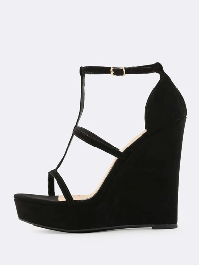 Strappy Faux Suede Wedges BLACK