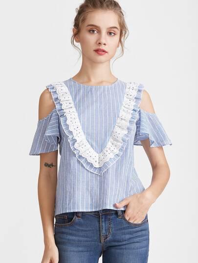 Синий модный топ в полоску со сборкой и открытыми плечами