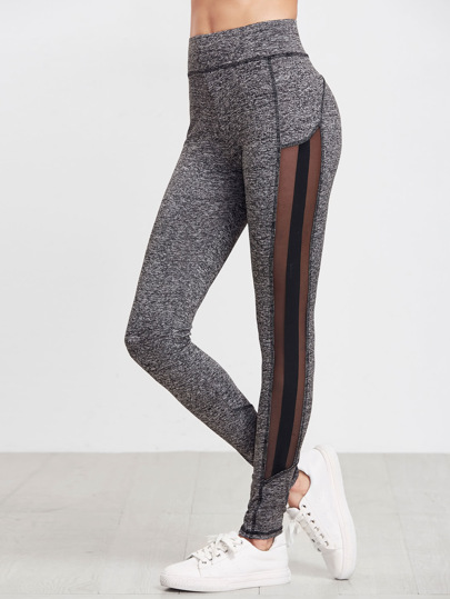 Marled Knit Mesh Panel Leggings