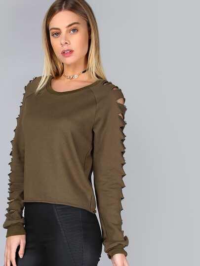 Olive Green Raglan Sleeve Ripped Sweatshirt