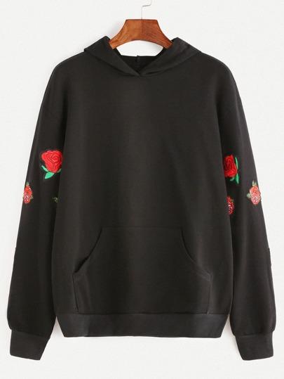 Black Pocket Front Rose Embroidered Hoodie