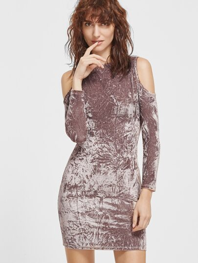 Coffee Cold Shoulder Crushed Velvet Bodycon Dress