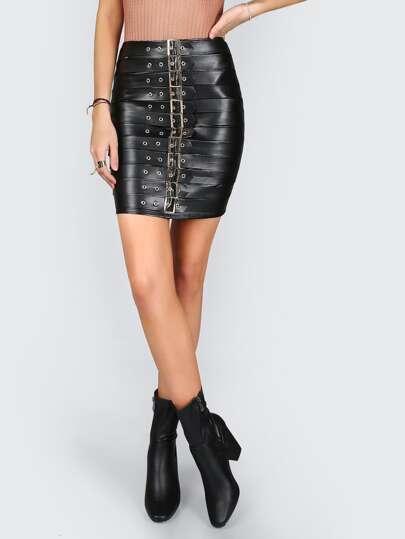 Chunky Buckle Strap Pleather Skirt BLACK