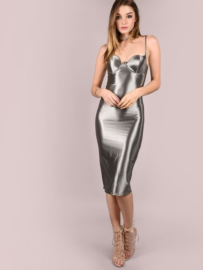 Grey Slit Back Bustier Cami Sheath Dress