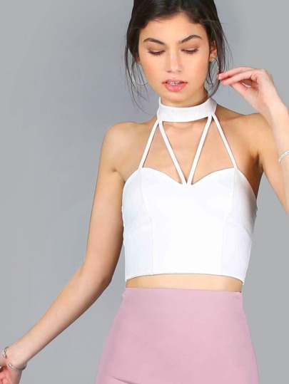 Sweetheart Strappy Choker Crop Top IVORY