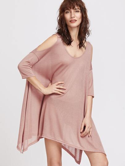 Pink Cold Shoulder Split Side Asymmetrical Dress