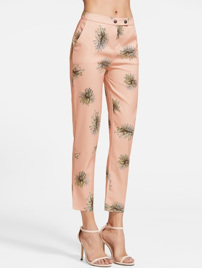 Orange Printed Zipper Pants
