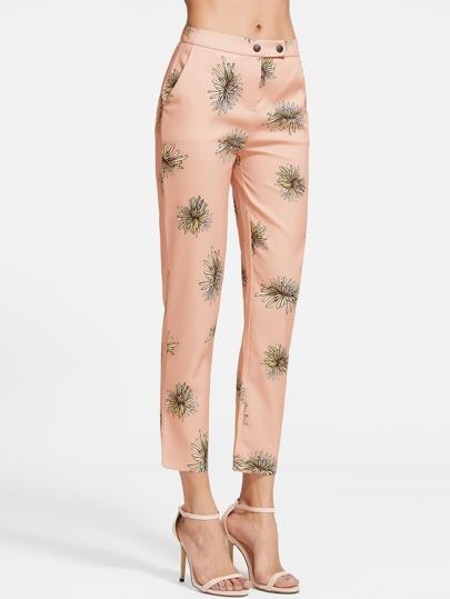 Pantalones con estampado y cremallera - naranja